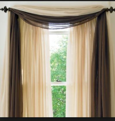 brown draped gauze scarf curtain